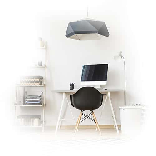 Student desk and lamp